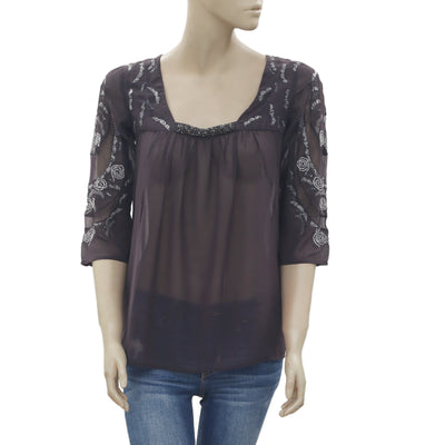 New Saivana Anthropologie Sequin Embellish Embroidered Gray Blouse Top