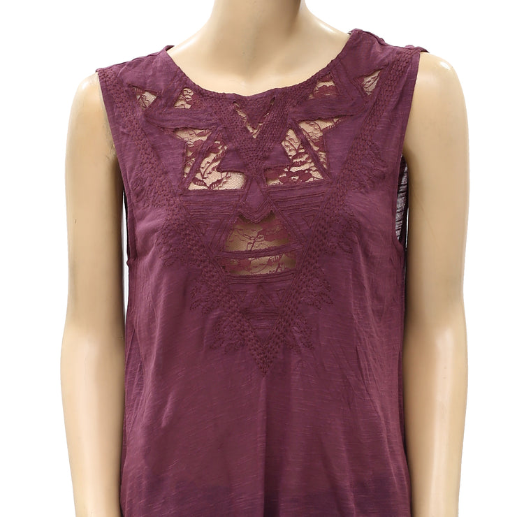 Ecote Urban Outfitters Embroidered Inset Muscle Tee Top M