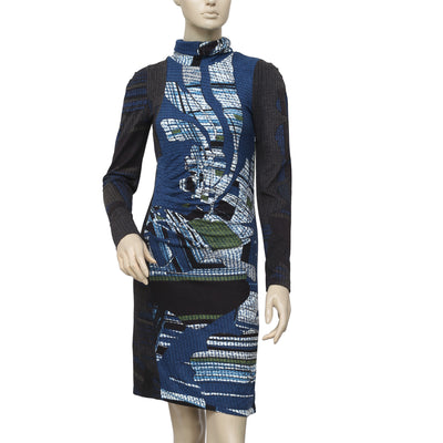 Miss Sidecar Printed Turtleneck Tunic Dress XS