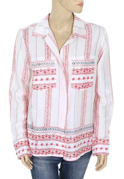 Elan Printed Buttondown Shirt Top Medium M