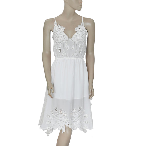 Hotel Particulier Eyelet Embroidered Sleeveless White Tunic Dress L