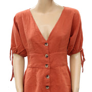 Urban Outfitters Lily Linen Button-Front Romper Dress S