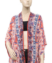 Free People Colorful Printed Tassel Cardigan Shawl OS