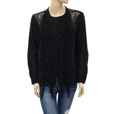 Yoana Baraschi Anthropologie Fringed Lace Tunic Top S
