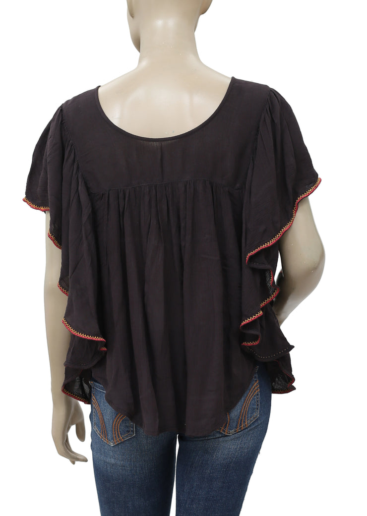 Free People Embroidered Embellished Black Blouse Top M