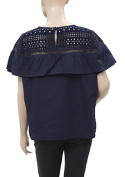 Lucky Brand Eyelet Embroidered Navy Blouse Top XL