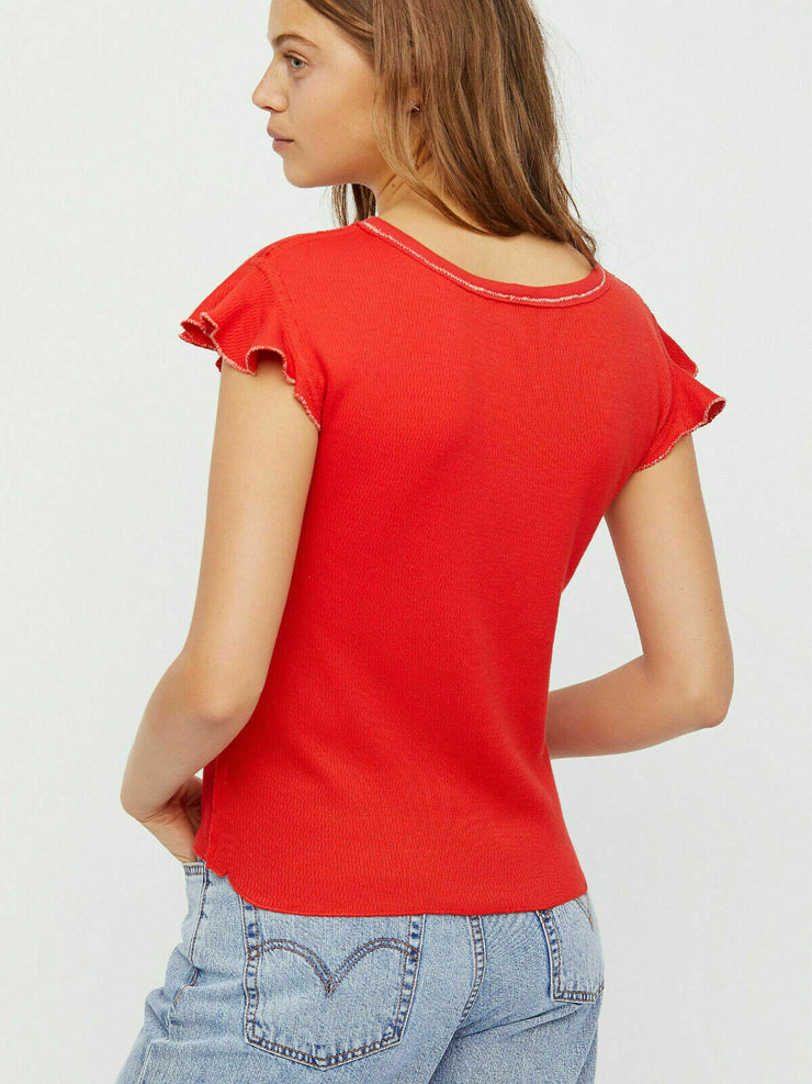 Free People We The Free Sweetheart Embellished Red Boho Blouse Top XS