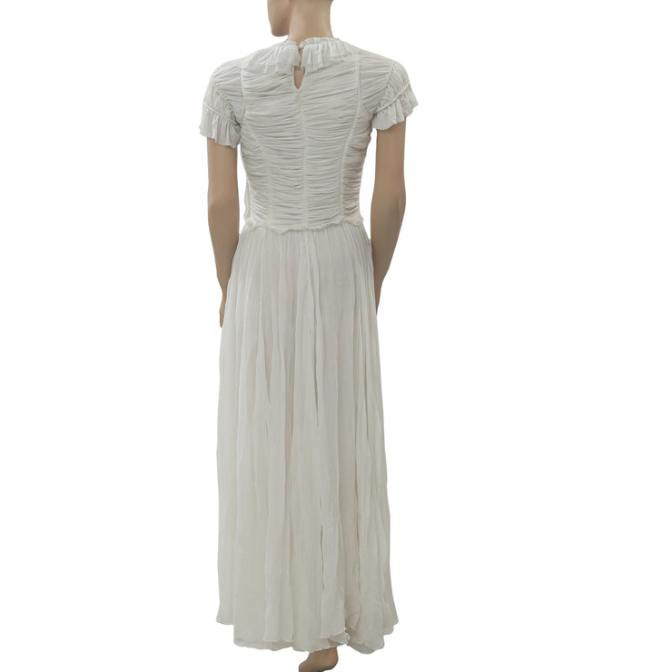 Ulla Johnson Ivory Ruffle Long Maxi Dress Fit & Flare Cocktail Evening XS