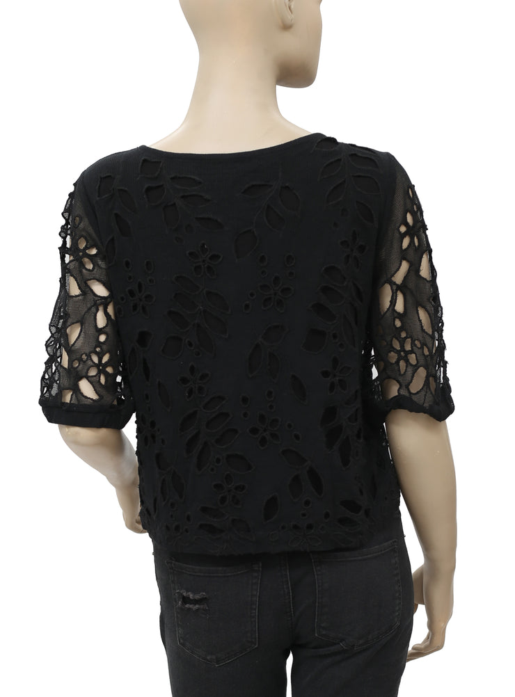 Free People Mesh Cutout Embroidered  Top S