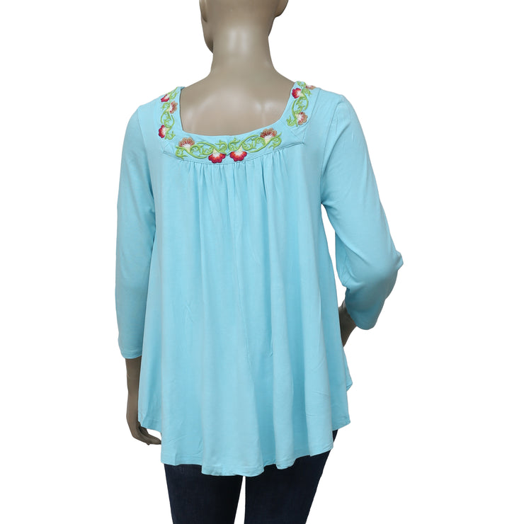 Caite Floral Embroidered Lace Top S