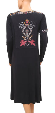 Caite Embroidered Black Dress Small S