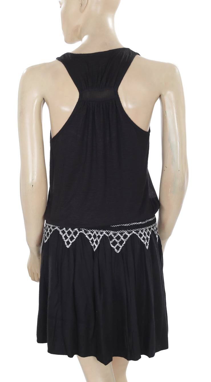 Lucky Brand Embroidered Smocked Sleeveless Black Dress Small S