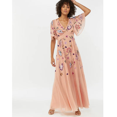 Monsoon Latoya Floral Embellished Maxi Dress M