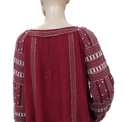 Free People Jess Bead Embellished Maroon Top S