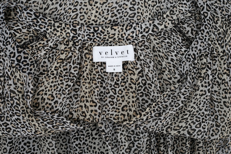 VELVET BY GRAHAM & SPENCER AUBREY PRINTED MINI DRESS S NEW