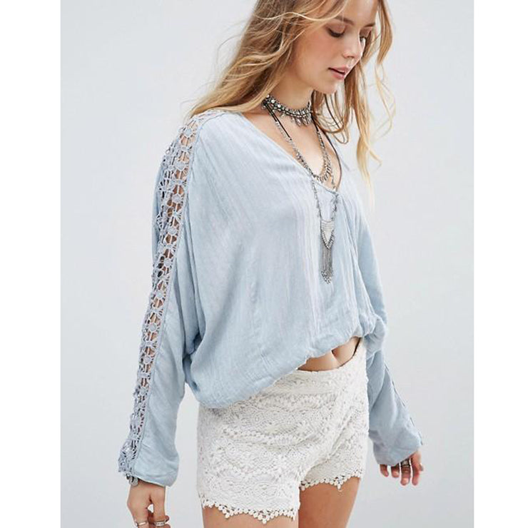 Free People Runaway Crochet Lace Banded Wrap BlouseTop Holiday M