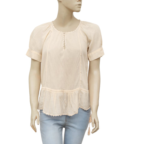 Isabel Marant Etoile Lace Draw String Round Neck Peach Blouse Top S 1
