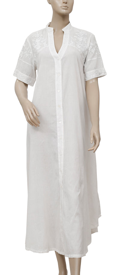 Free People Embroidered Ivory Midi Shirt Dress M