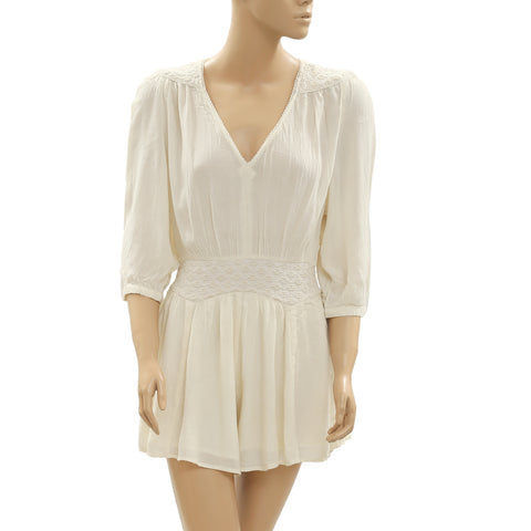 Nw Ecote Urban Outfitters Embroidered Lace Cutout Playsuit Ivory Romper S