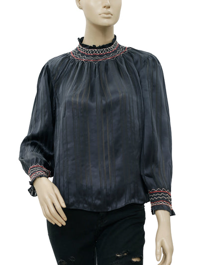 Ulla Johnson Geri Striped Silk Blouse Top S 6