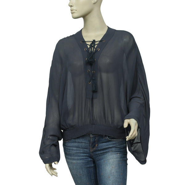 Free People Draw String Smocked Kimono Sleeve Gray Blouse Top Small S
