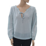 Odd Molly Remix Embroidered Lace Boho Sky Blouse Top Small S 1 New