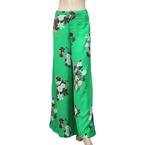 Free People Floral Printed Green Pant XS