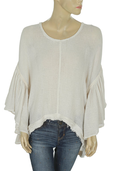 New Free People Lace Flutter Sleeve Gauze Ivory Cotton Blouse Top L