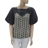 New EP by Easton Pearson Puff Sleeves Printed Blouse Black Top XS