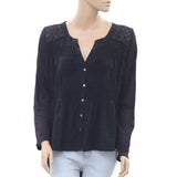 Free People Eyelet Embroidered Black Blouse Top Ruched Buttondown M