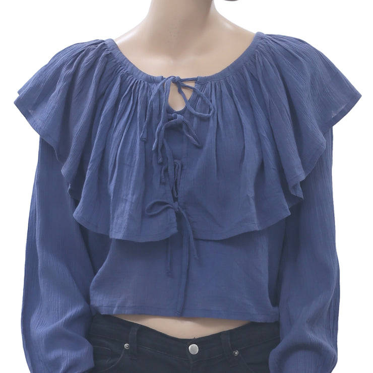 Anthropologie Tiered Blue Crop Blouse Top Cotton Boho Holiday Solid L NWD