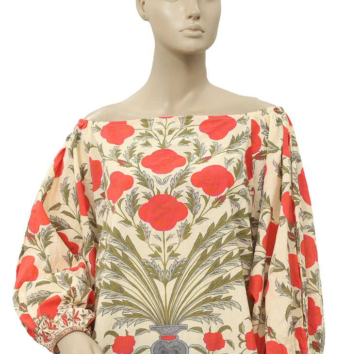 Rhode Resort Delilah Red Flower Top L
