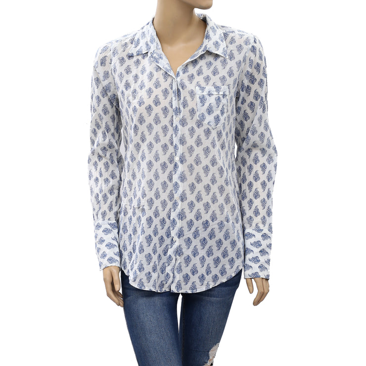 Nili Lotan Leaf Printed Blouse Shirt Top XS