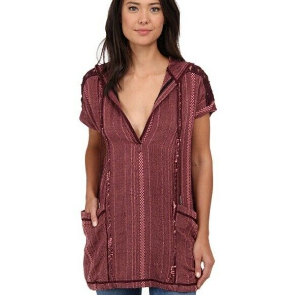 Free People Forever Yours Hooded Tunic Top S