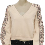 Free People Senorita Embellished Sweatshirt Top S