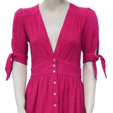 New Free People Love of My Life Dress Buttondown Red Rose Pink Midi S
