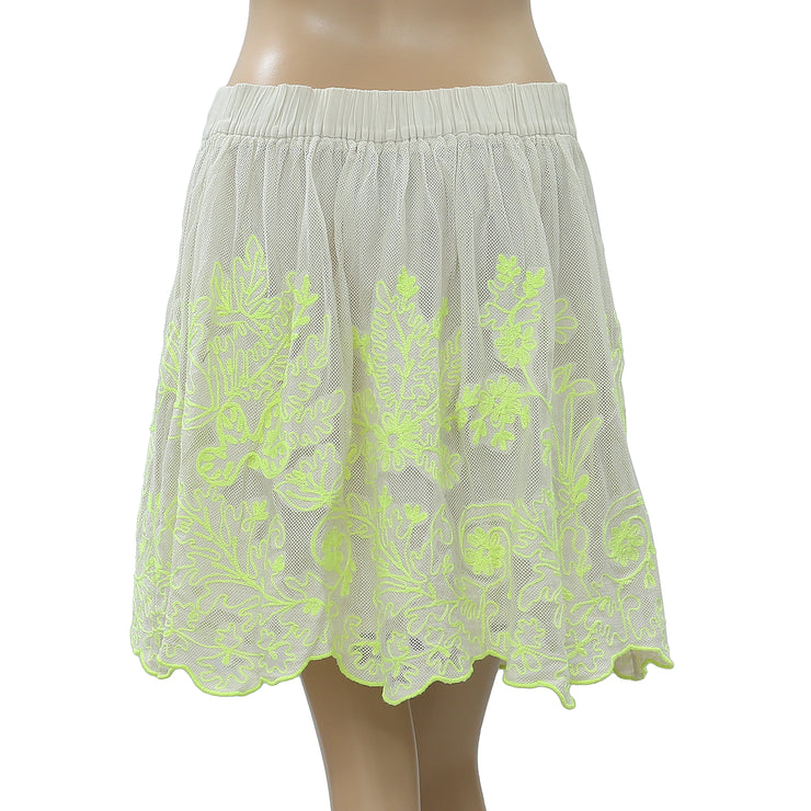 Vanessa Virginia Anthropologie Electric Vines Mini Skirt Embroidered L NW