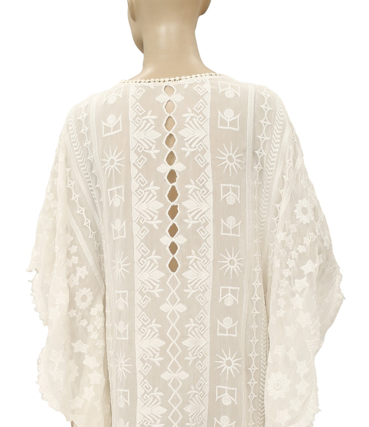 Free People Cutout Embroidered Lace Dress L