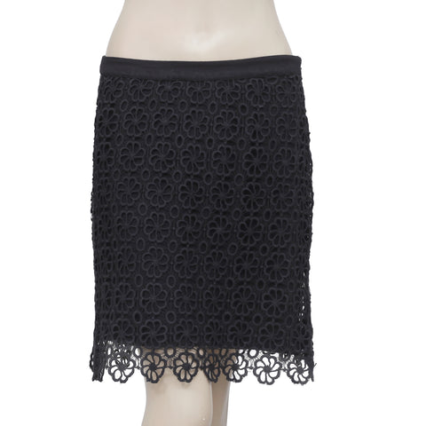 Yest Floral Crochet Black Skirt Medium M