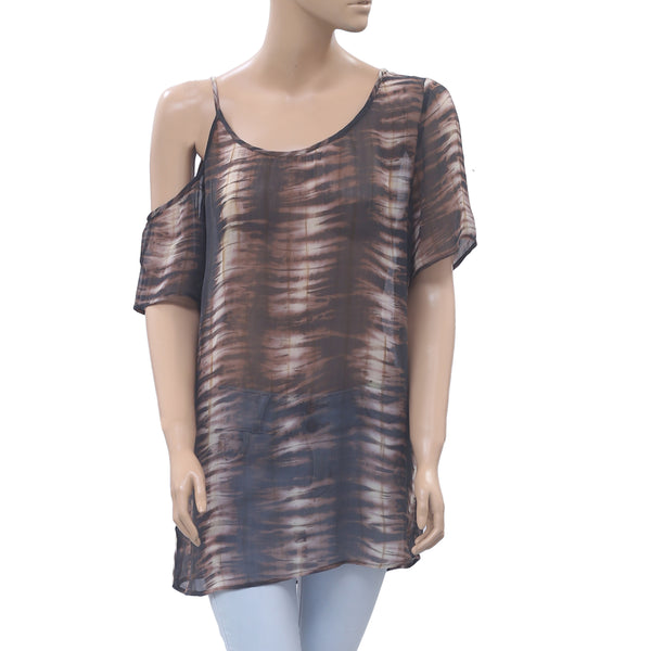 Nicholas K Printed Tunic Top Open Shoulder Holiday Boho M