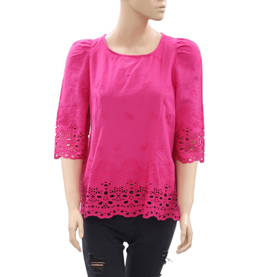 Tintoretto Embroidered Eyelet Pink Blouse Top M