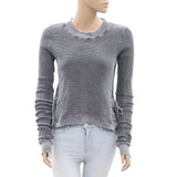 Free People Pullover Blouse Top High & Low Self Pattern Sweatshirt XS New