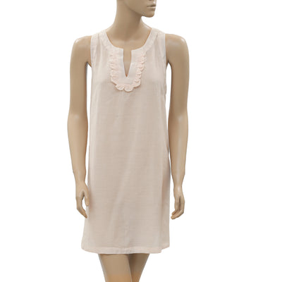 New White Chocolate Ruffle Summer Split Neck Boho Light Peach Small S