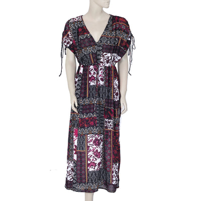 River Island Printed Draw String Summer Beach Maxi Dress L