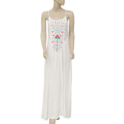 Soft Surroundings Floral Embroidered Boho White Long Maxi Dress S