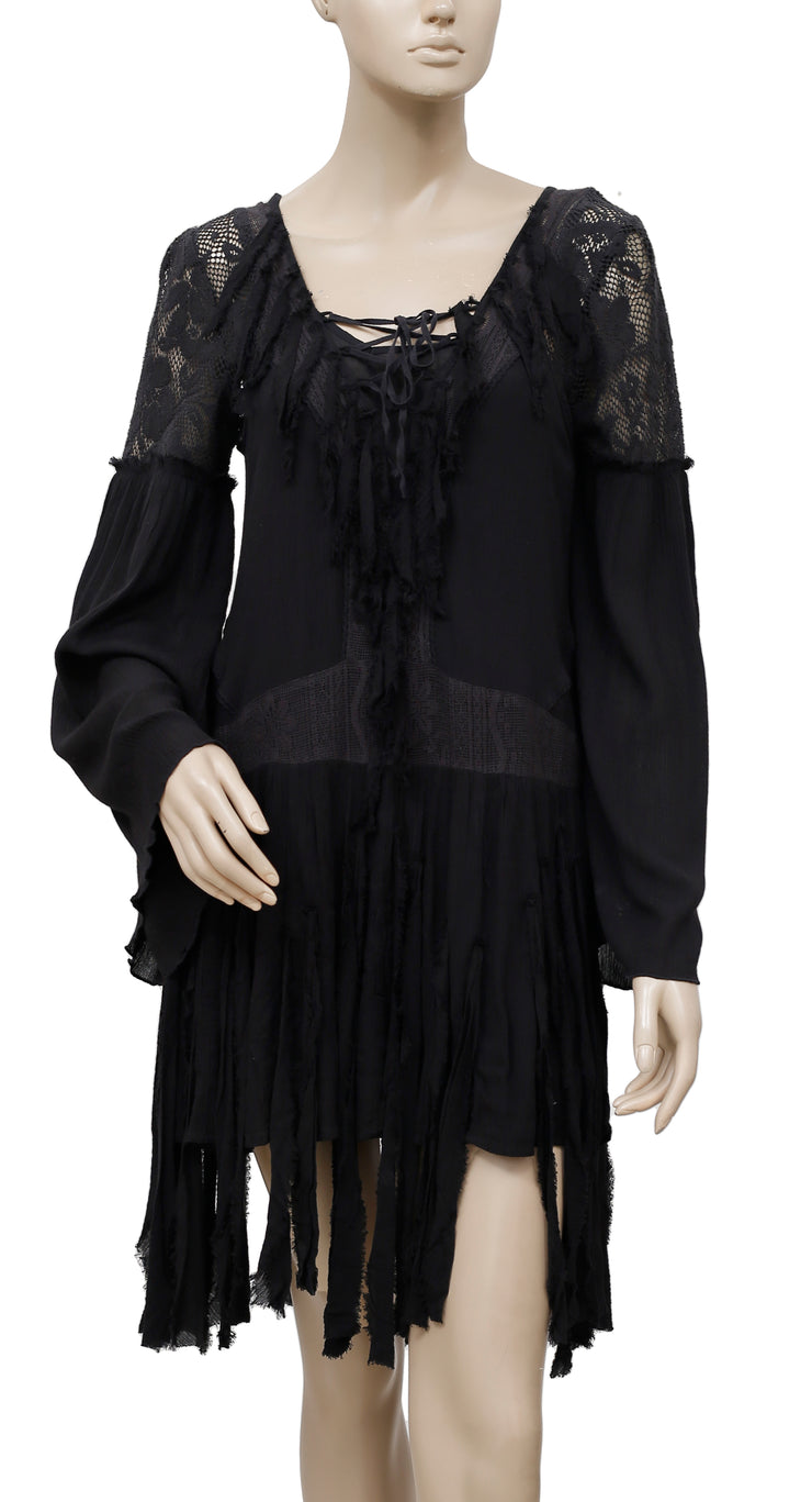 Free People Shipwreck Cove Lace Fringed Black Dress XS