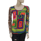 Desigual Retro Printed Round Neck Blouse T Shirt Top XS