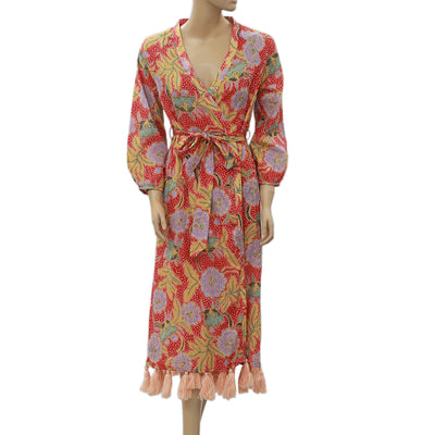 Rhode Resort Lena Wrap Midi Dress L