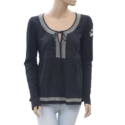 Odd Molly Anthropologie Cappella Black Blouse Top M-2 New