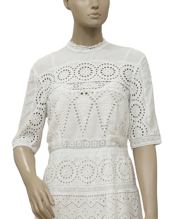Ulla Johnson Embroidered Eyelet Lace Dress M